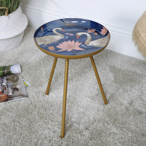 Gold Swan Decorated Side Table - Large
