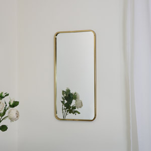 Gold Thin Framed Wall Mirror 38cm x 76cm