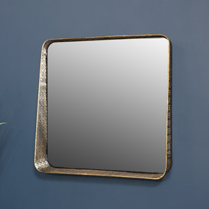 Gold Wall Mirror with Shelf 50cm x 50cm
