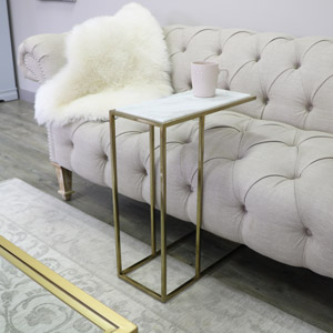Gold & White Marble Side Table