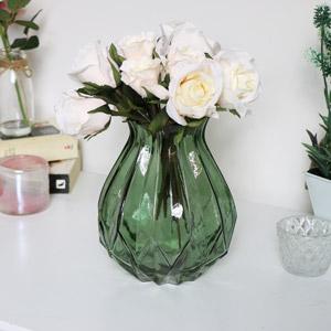 Green Cut Glass Vase