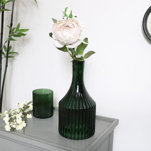 Green Glass Narrow Necked Ribbed Vase