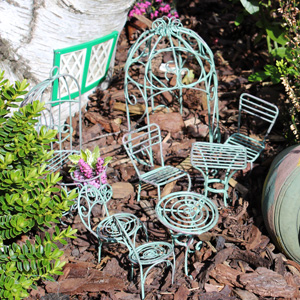 Green Metal  Fairy house Mini Garden Set