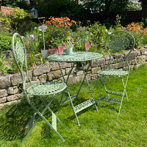 Green Oval Table and Two Chairs Bistro Set