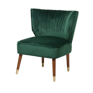 Green Velvet Chair with Wood & Gold Legs