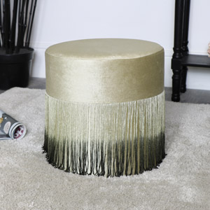 Green Velvet Fringed Stool