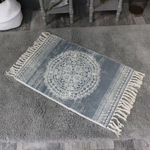 Grey and Cream Mandala Patterned Tassel Floor Rug