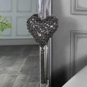 Grey Beaded Hanging Heart Decoration