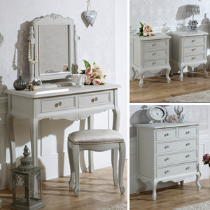 Grey Bedroom Furniture, Chest of Drawers, Dressing Table Set & Bedside Tables - Elise Grey Range