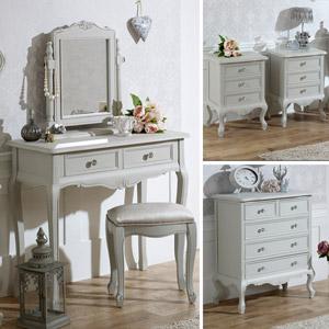 Grey Bedroom Furniture, Chest of Drawers, Dressing Table Set & Bedside Tables - Elise Grey Range