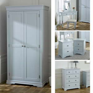 Grey Bedroom Furniture, Wardrobe, Chest of Drawers, Dressing Table Set & Bedside Tables - Newbury Grey Range