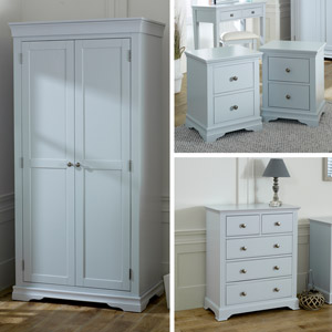 Grey Bedroom Furniture, Wardrobe, Chest of Drawers & Pair of Bedside Tables - Newbury Grey Range