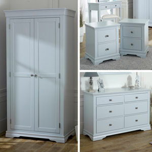 Grey Bedroom Furniture, Wardrobe, Large Chest of Drawers & Pair of Bedside Tables - Newbury Grey Range