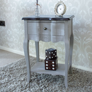 Grey Bedside Table with Shelf - French Grey Range