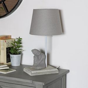 Grey Buddha Bedside Table Lamp