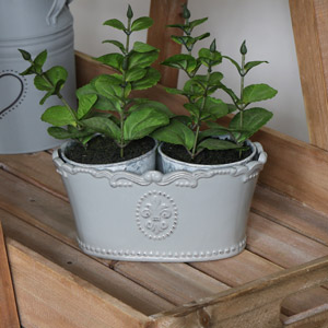 Grey Ceramic Oval Trough Planter