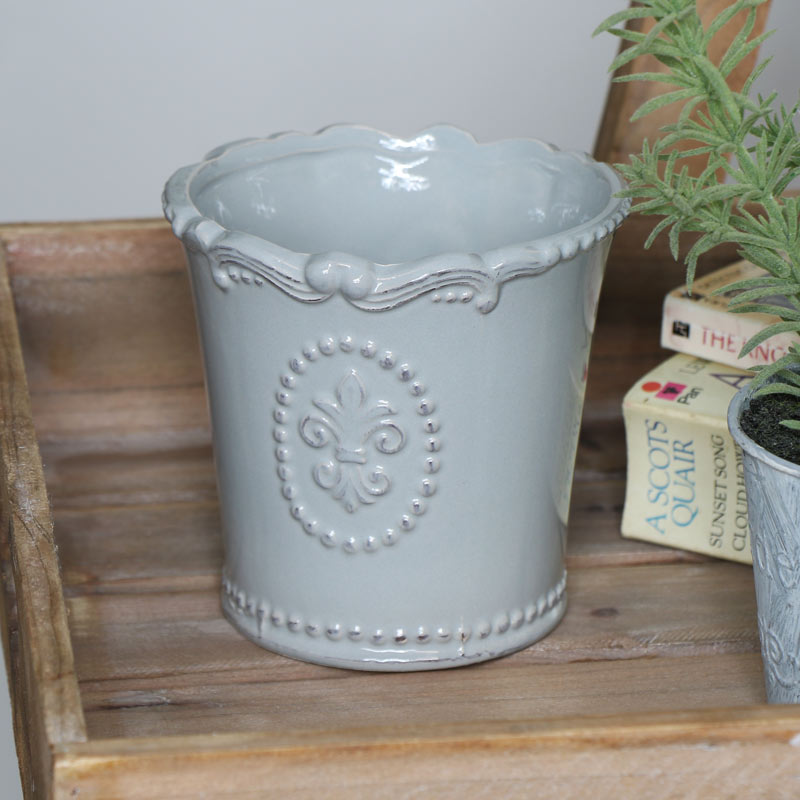 Grey Ceramic Round Plant Pot