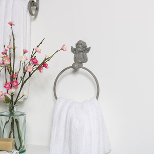 Grey Cherub Towel Ring