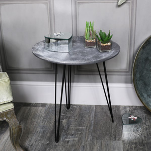 Grey Concrete Effect Topped Side Table
