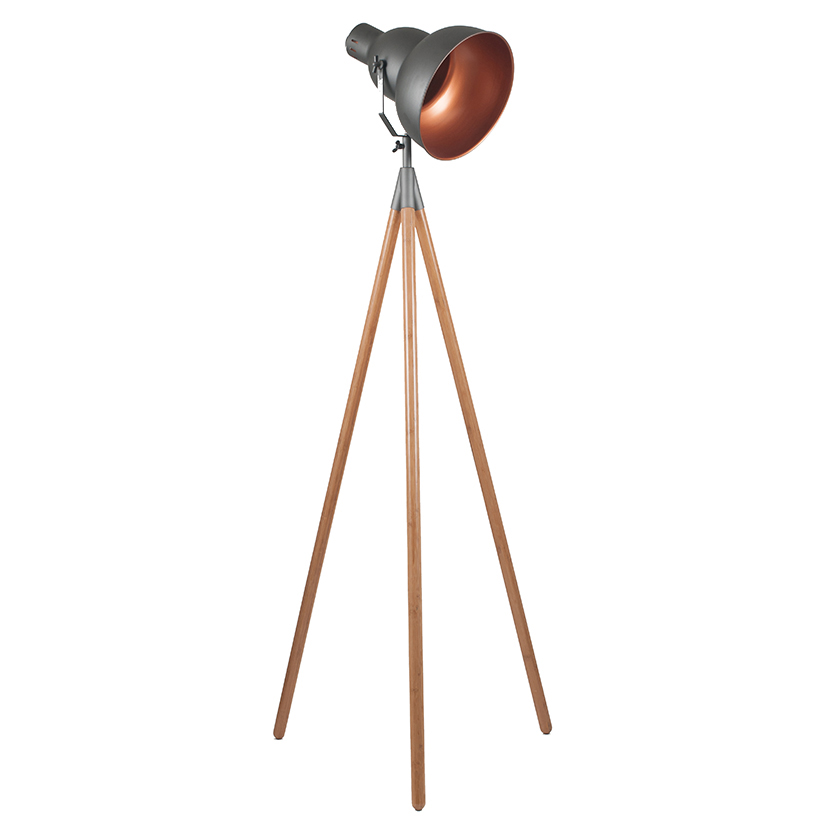 Grey Copper Retro Floor Standing Tripod Lamp