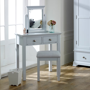 Grey Dressing Table, Mirror & Stool Set - Davenport Grey