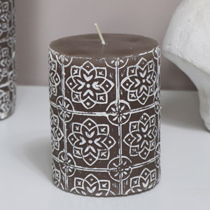 Grey Embossed Pillar Candle