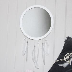 Grey Feather Dreamcatcher Wall Mirror