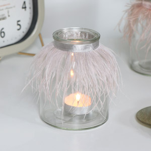 Grey Feathered Glass Tealight Holder