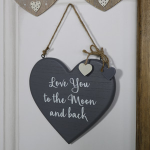 """Grey Hanging Heart Plaque """"Love You to the Moon and back"""""""