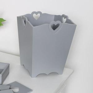 Grey Heart Detail Wooden Waste Paper Bin