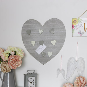 Grey Heart Memo Board