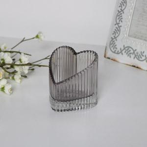 Grey Heart Shaped Glass Ornament