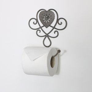 Grey Heart Toilet Roll Holder