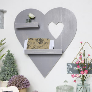 Grey Heart Wall Shelf
