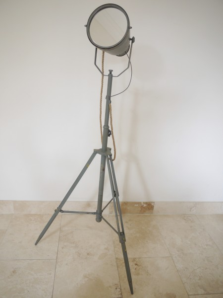 Grey Metal Adjustable Searchlight Style Mirror