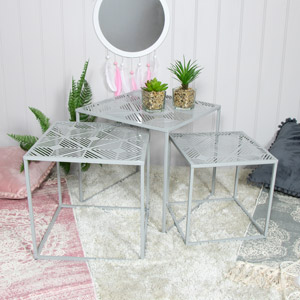 Grey Metal Nest of Tables Set of 3