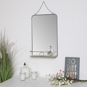 Grey Metal Vanity Wall Mirror with Shelf