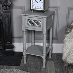 Grey Mirrored 1 Drawer Bedside/Lamp Table - Vienna Range