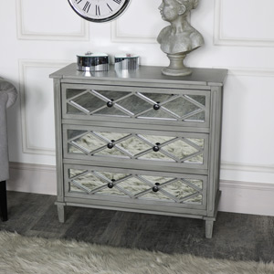Grey Mirrored Chest of Drawers - Vienna Range DAMAGED SECOND ITEM 2038