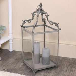 Grey Ornate Metal & Glass Candle Lantern
