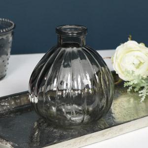 Grey Ribbed Glass Bottle Vase