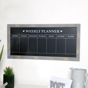 Grey Rustic Days of the Week Chalk Board
