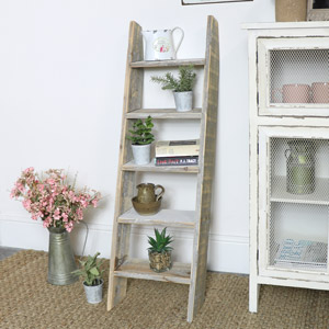 Grey Rustic Wooden Ladder Shelf Unit