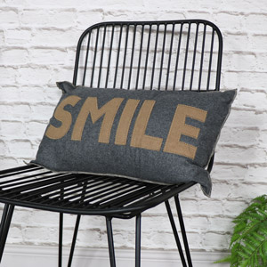 Grey 'Smile' Scatter Cushion