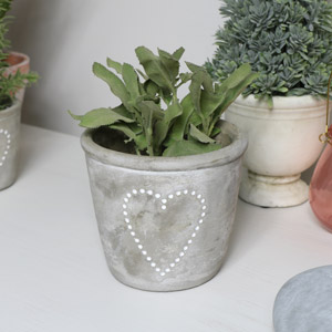 Grey Stone Heart Planter