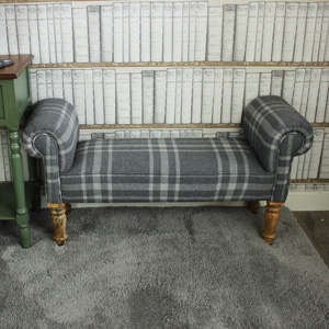 Grey Tartan Upholstered Backless Bench / Chaise