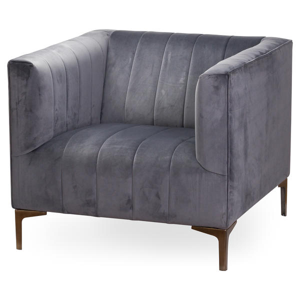 Grey Velvet Arm Chair