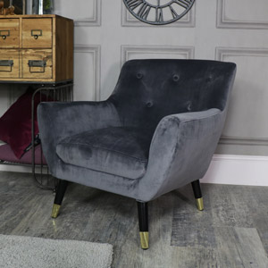 Grey Velvet Boudoir Chair