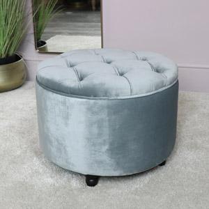 Grey Velvet Footstool