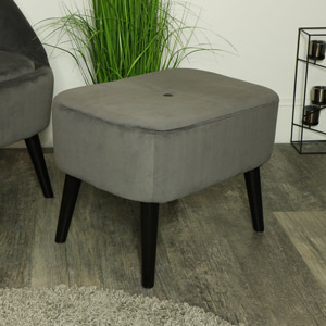 Grey Velvet Low Stool